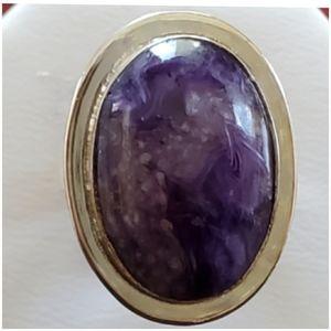 Genuine 22ct Siberian Charoite Ring Size 8